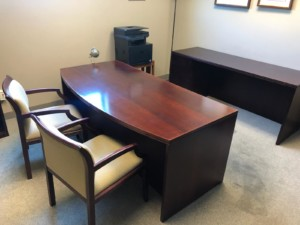 Large Desk and Credenza with Chairs