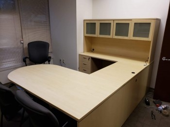 Light Colored U-Shaped Desk
