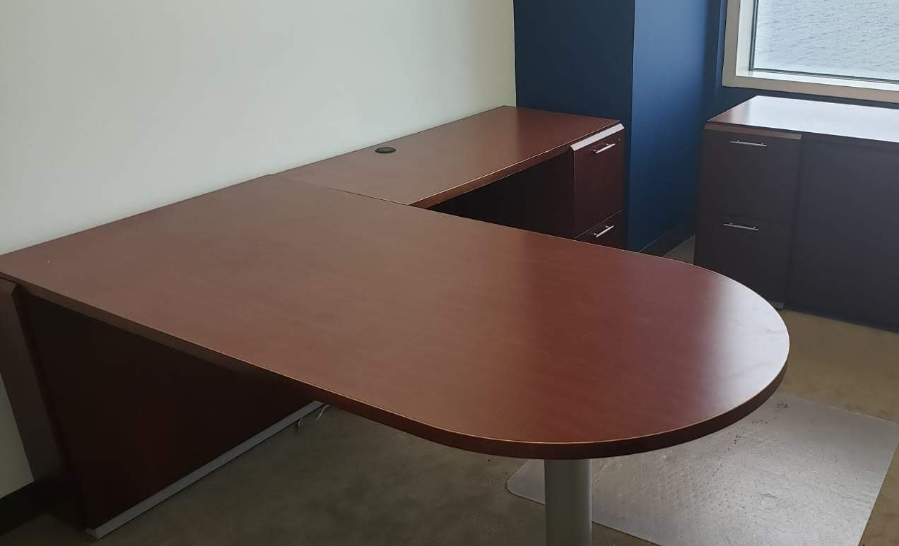 Peninsula L-Shaped Desk with Pedestal