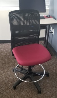 Mesh task chair with maroon fabric seat without arms