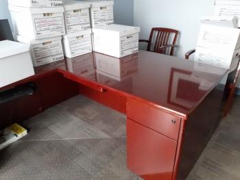 L-Shaped wood Desk $250