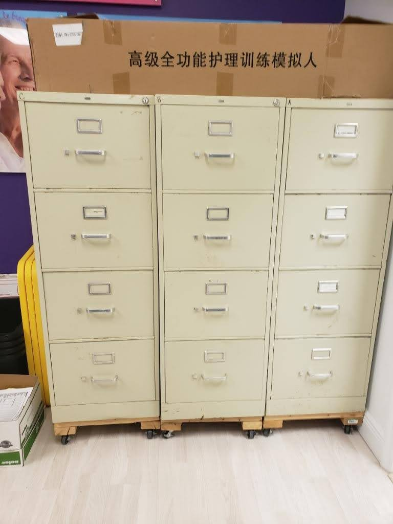 4-Drawer Vertical File Cabinets, cream color