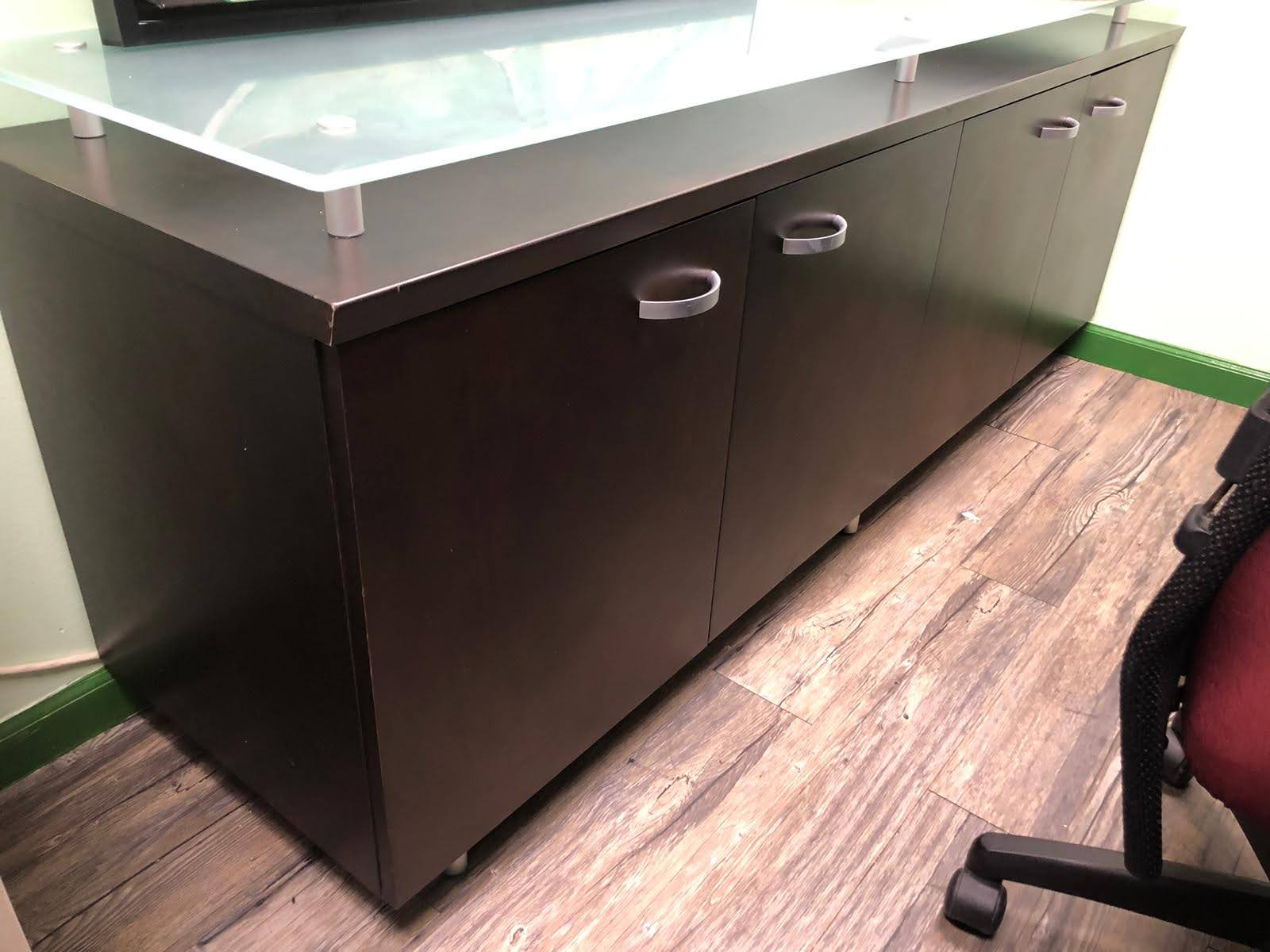 Credenza with glass top