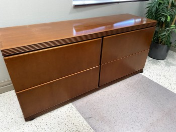 Wood Desk with Credenza