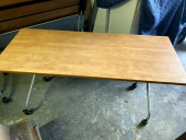 Foldable training table with wheels